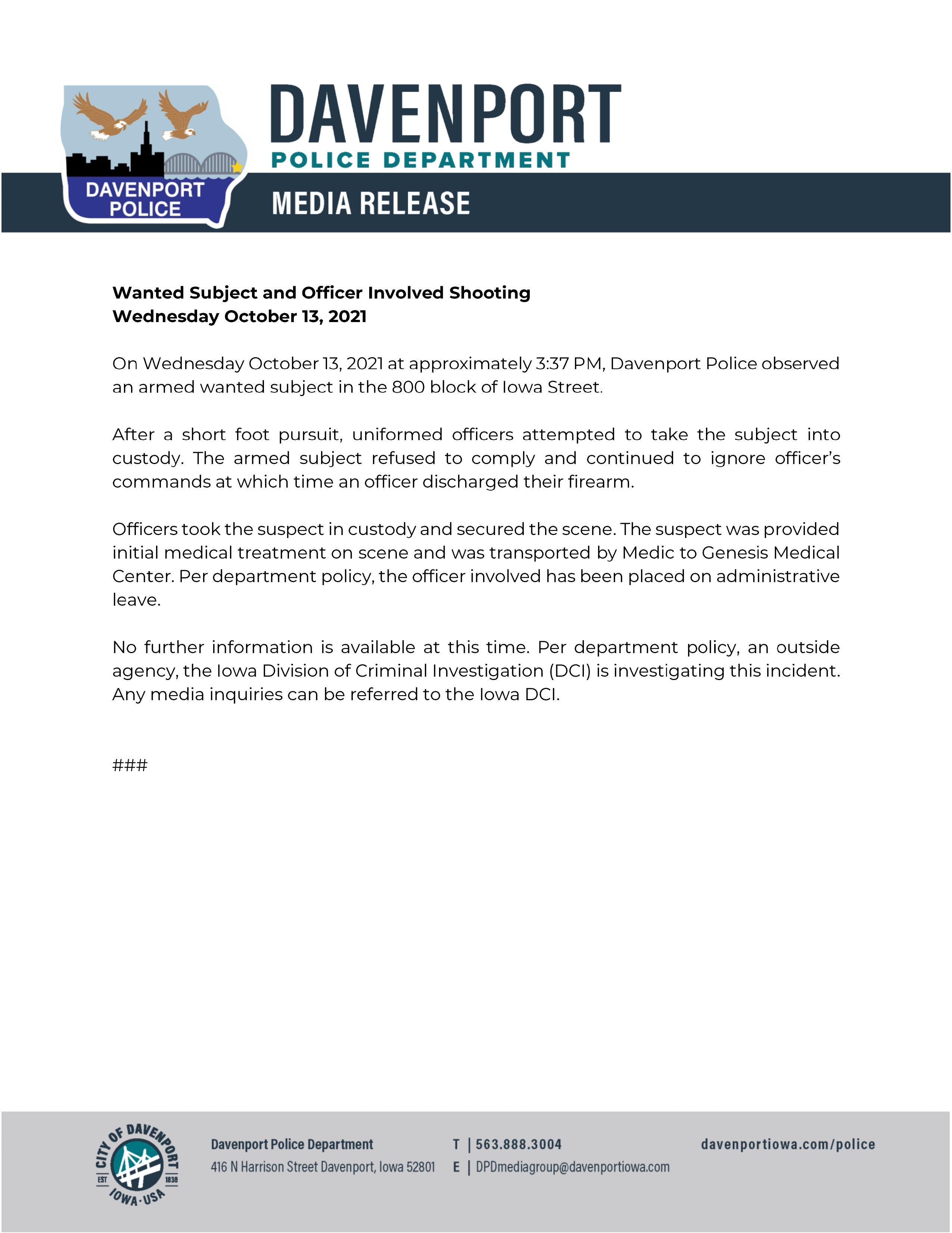 Davenport Press Release
