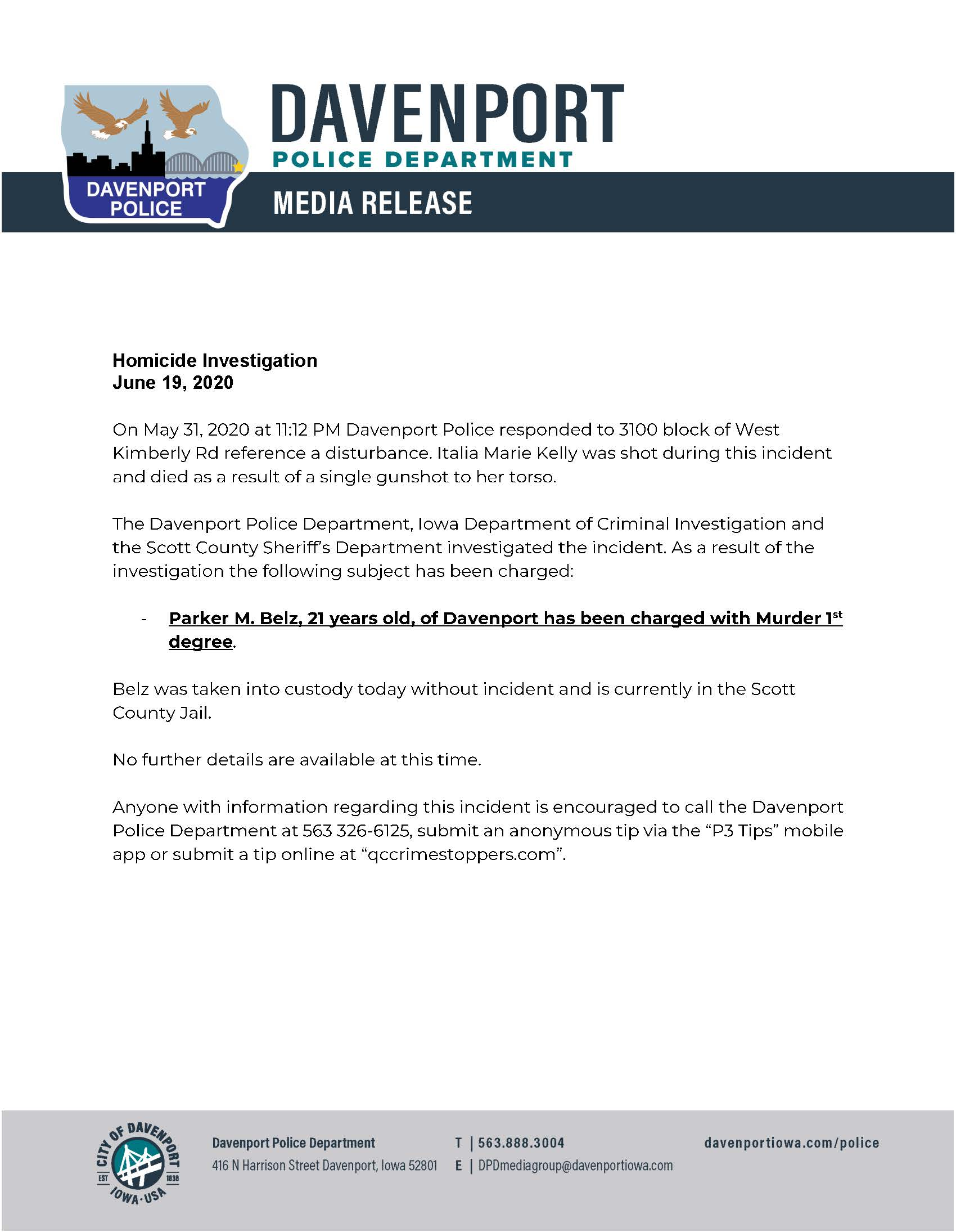 Link to press release on double homicide of June 2020 from Davenport Police Department.
