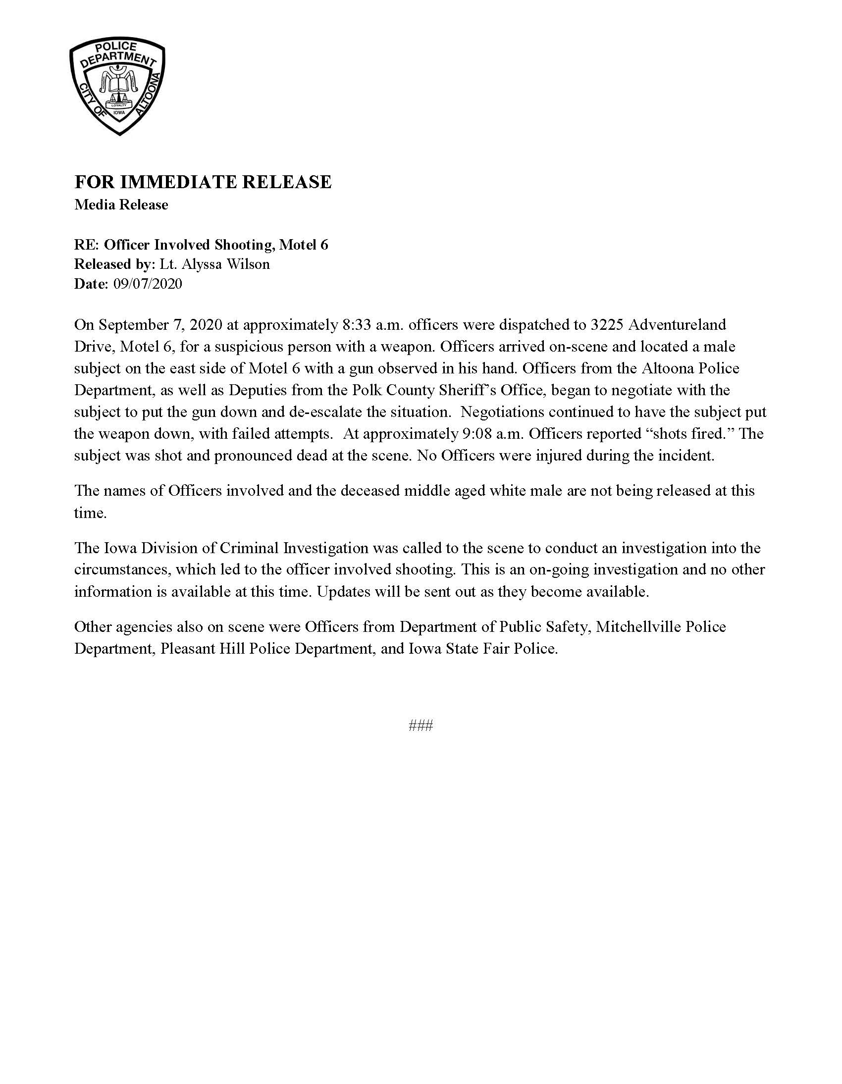 Link to Altoona press release.