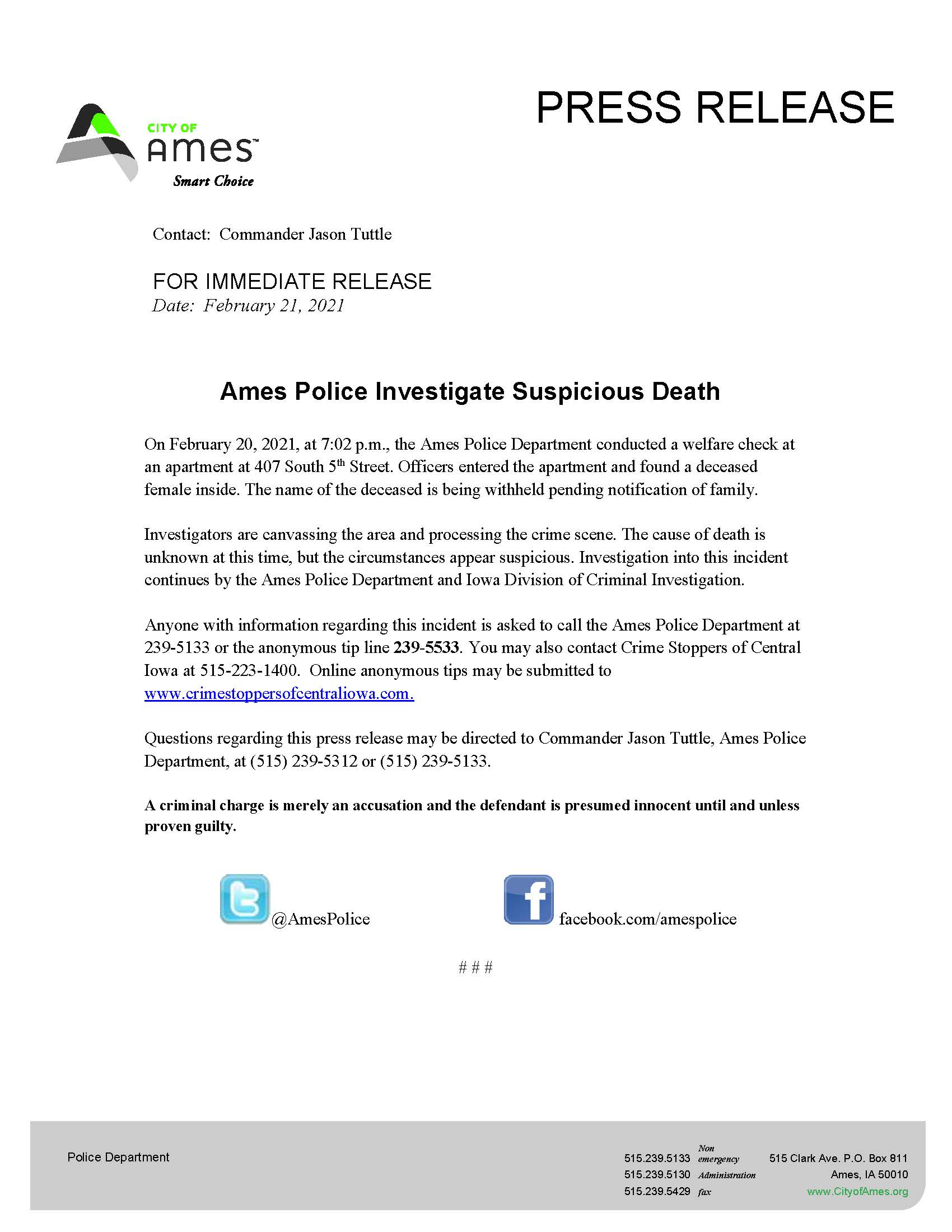 Link to Ames press release