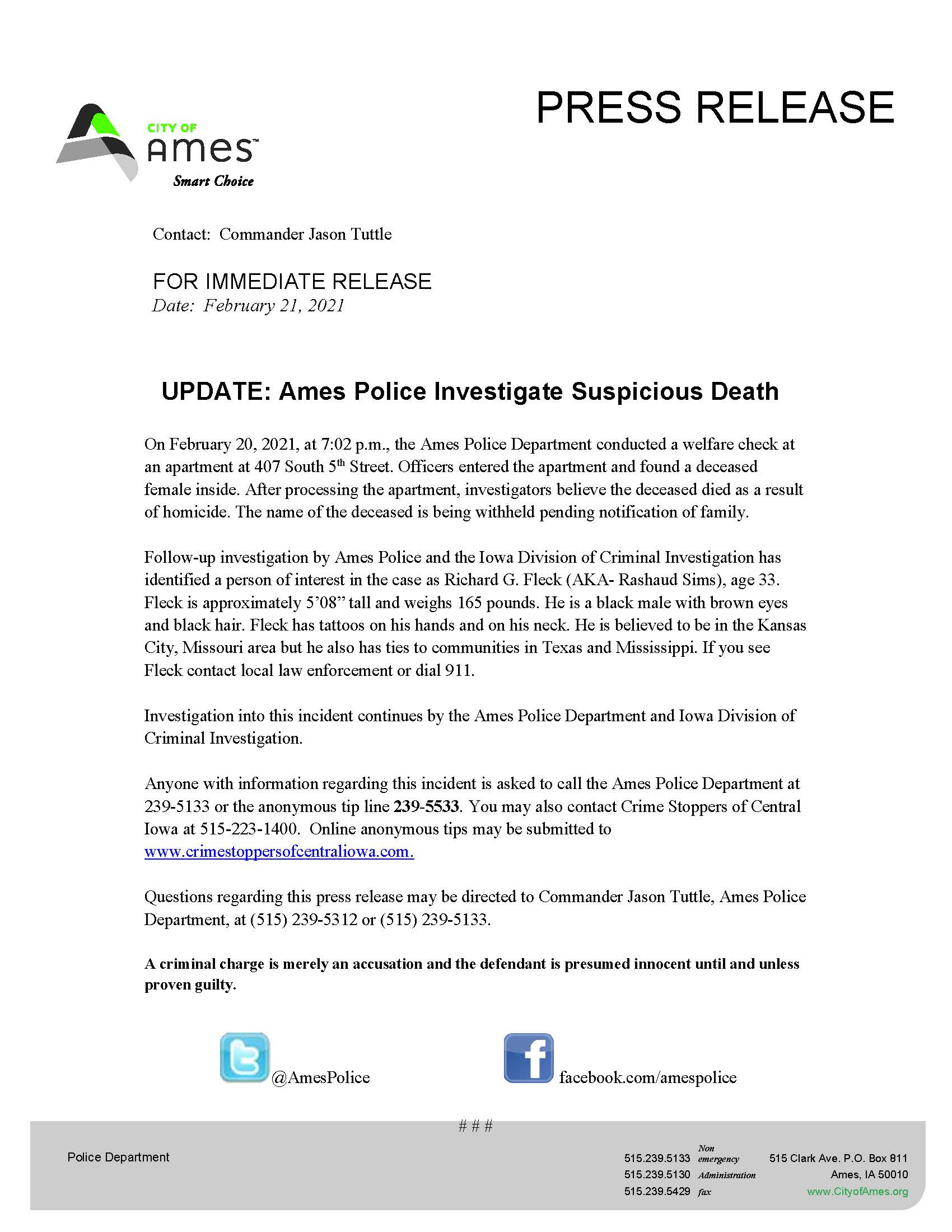 Link to Ames Update press release