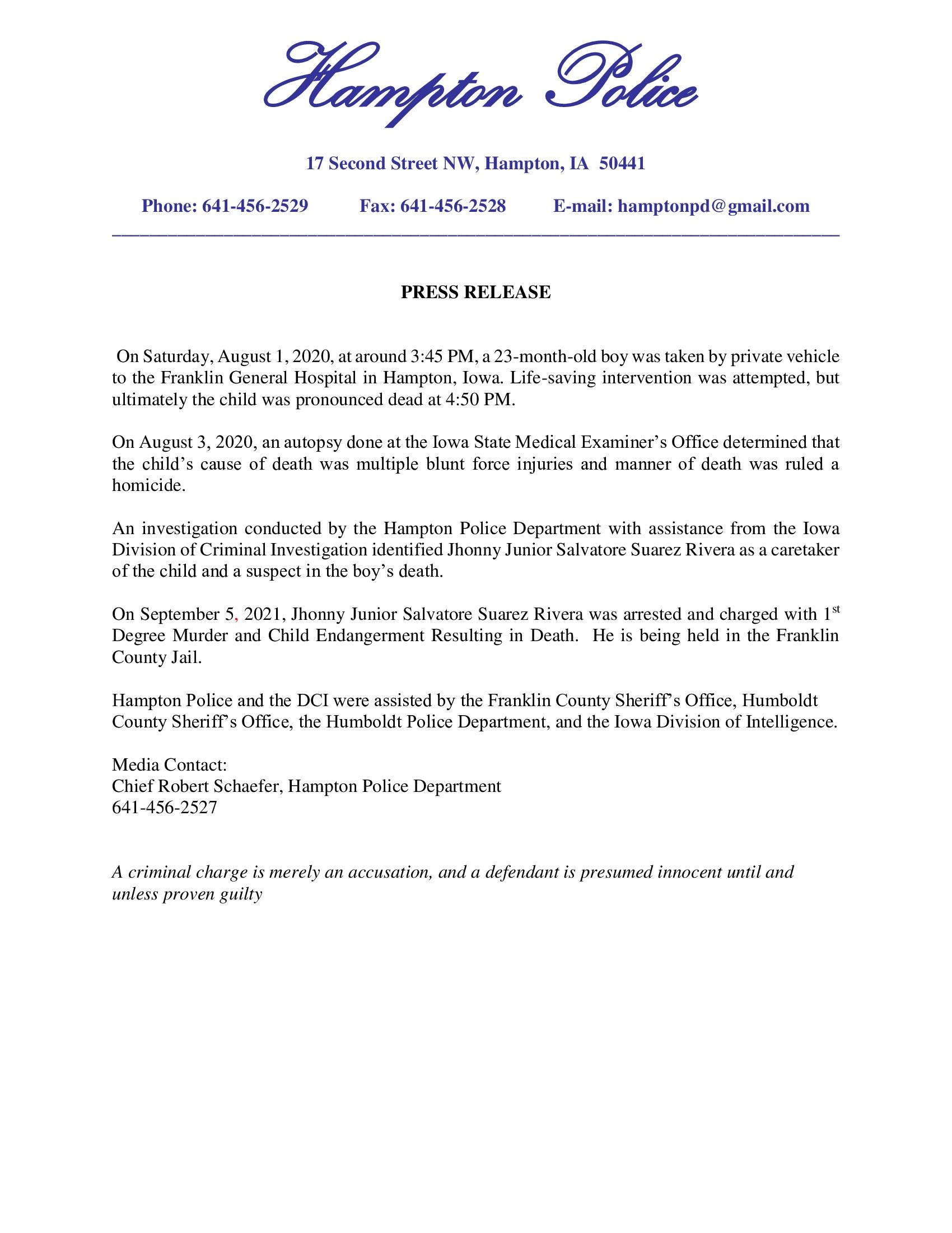 Hampton PD Press Release