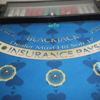 Image of DCI's training Blackjack table and chips in locked case.