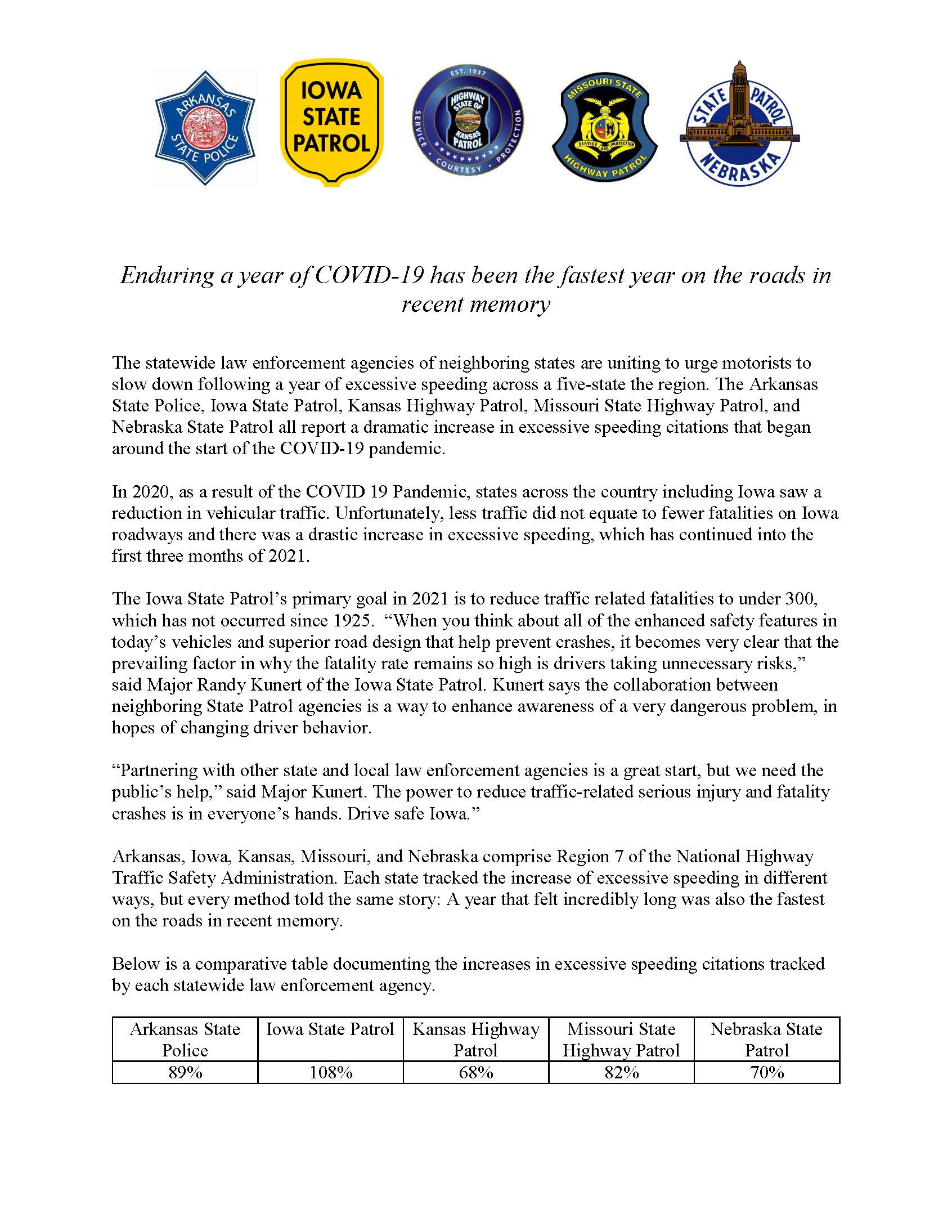 Link to page 1 of Region 7 press release