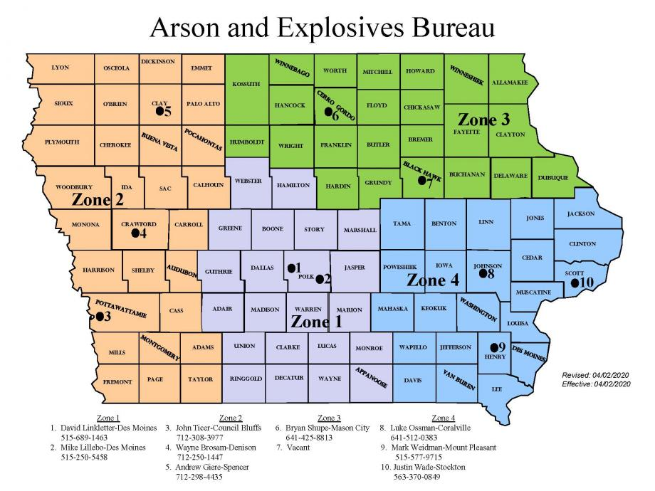 Arson and Explosives Bureau territory map