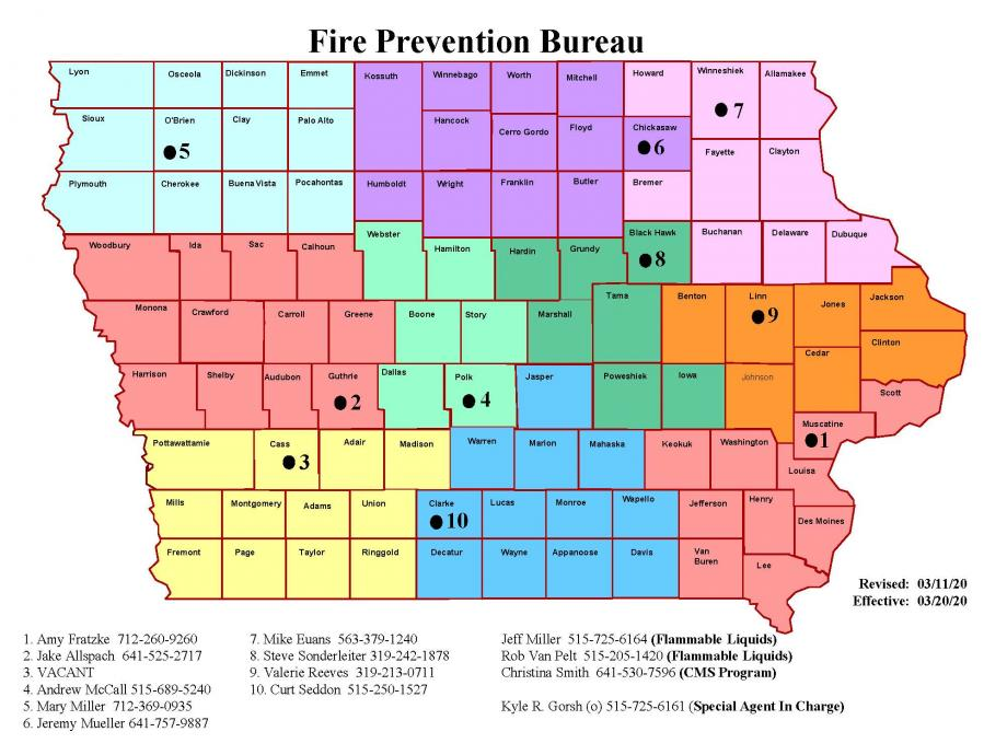 Fire protection bureau territory map