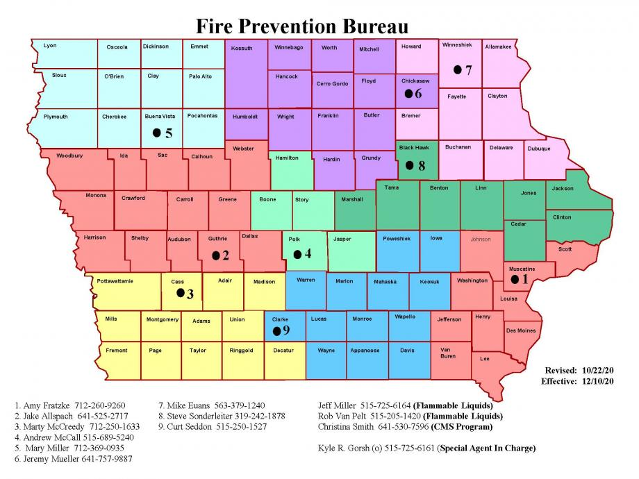 Fire Prevention Inspection jurisdiction map