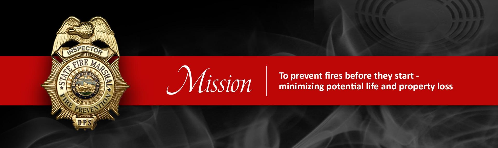 Fire inspector badge with bureau mission to prevent fires before they start-minimizing potential life and property loss.