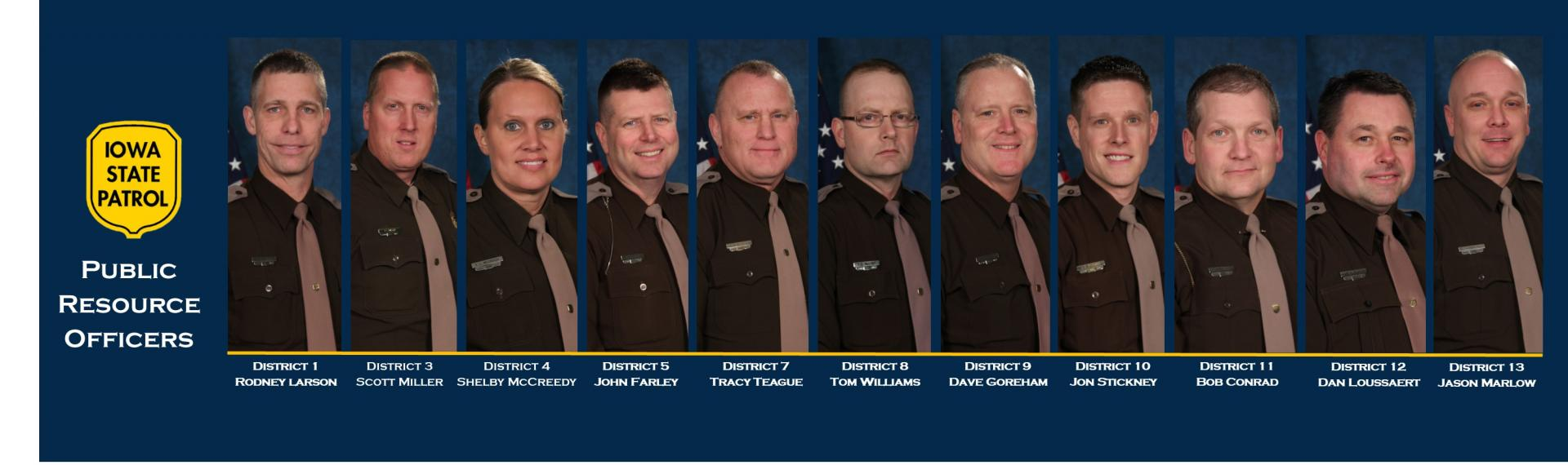 Collage photo of Iowa State Patrol's Public Resource Officers - Our team brings valuable resources to Iowa's Schools and community organizations.