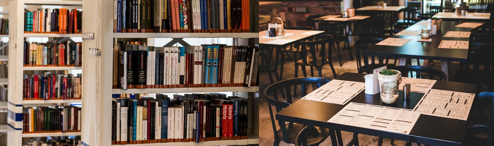 Split image of library shelves and empty restaurant